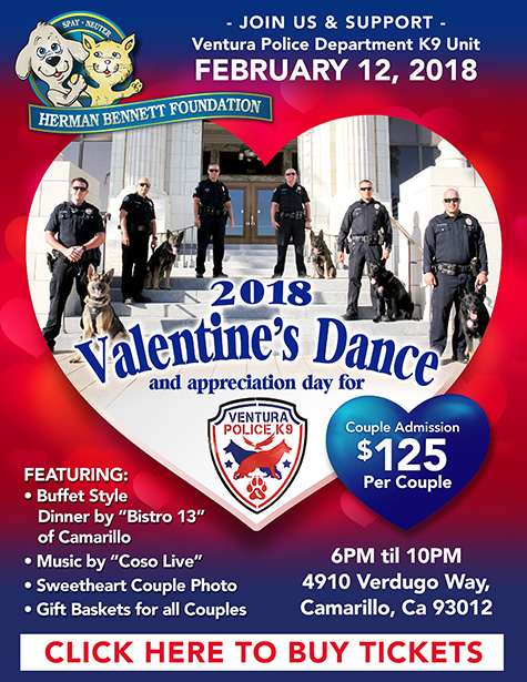 Tickets on Sale for the 2018 Valentine's Dance - to honor the Ventura Police K9 Unit.